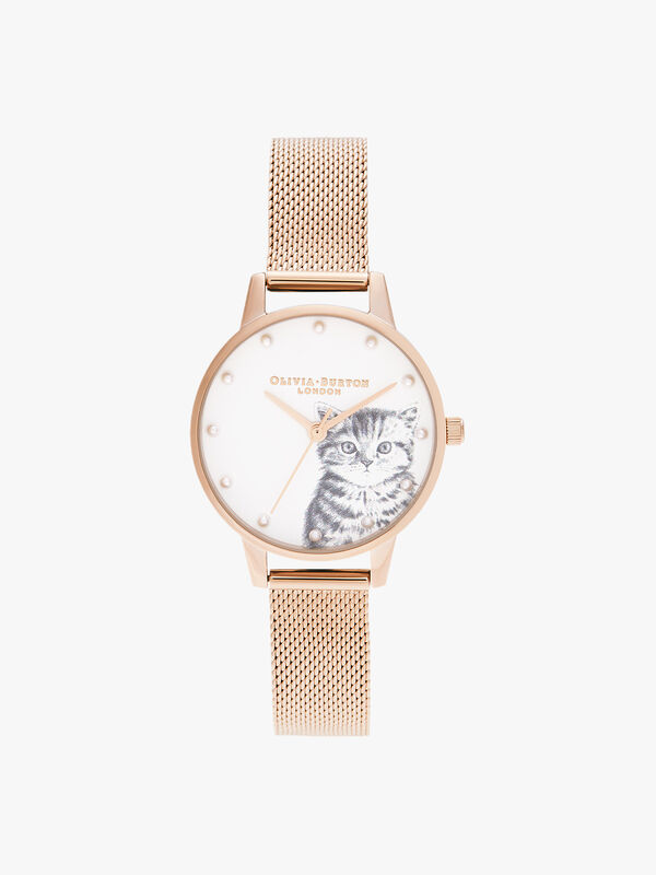 Illustrated Animals Pearly Kitten, Rose Gold Mesh