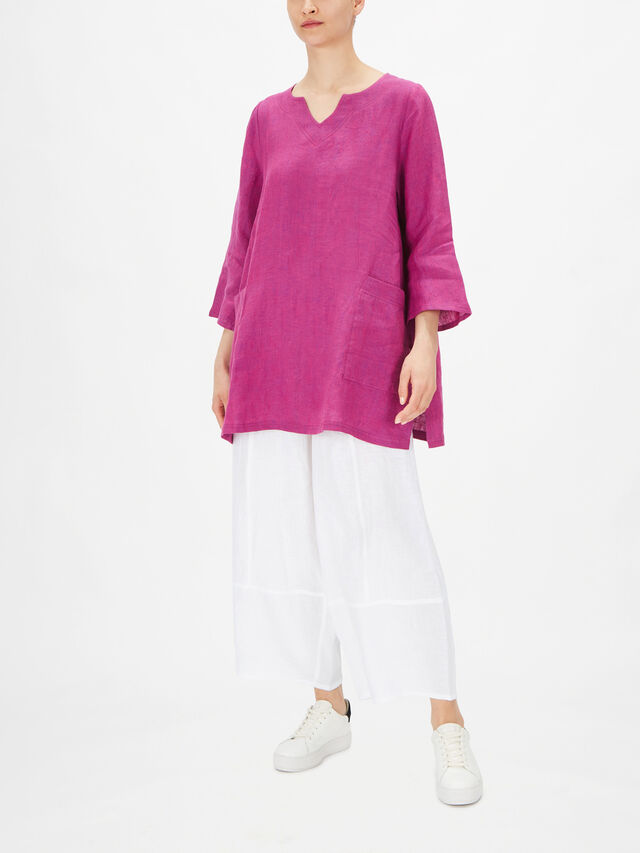 Marja Long Sleeve V Neck Tunic with Front Pockets