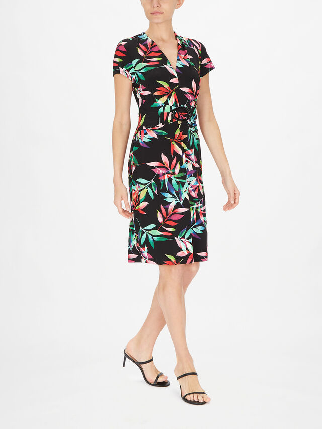 Cap Sleeve Leaf Print V Neck Fitted Dress with Waist Belt