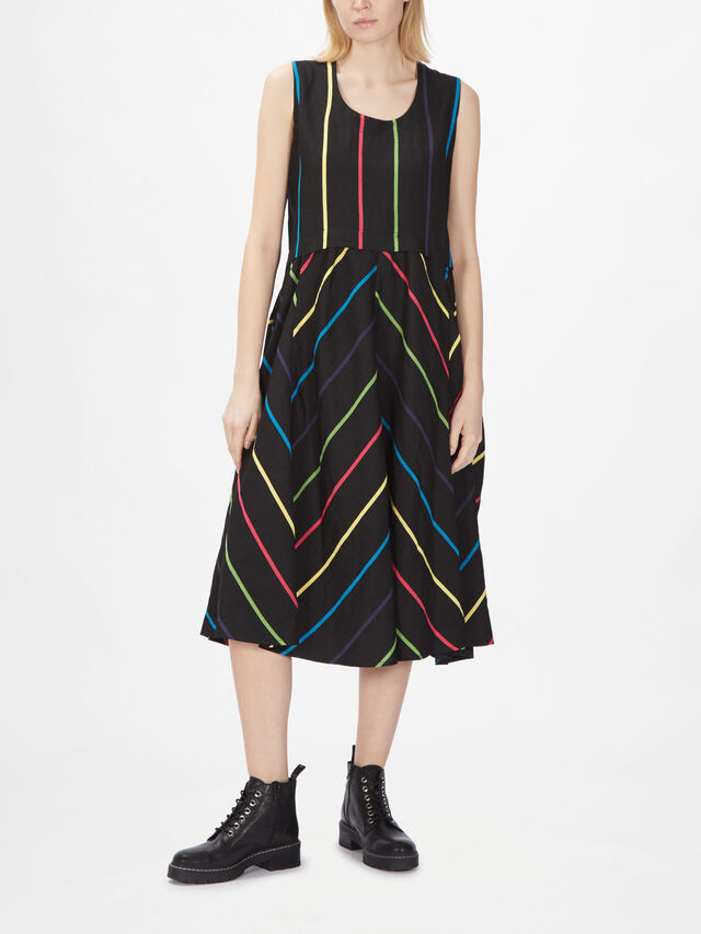 Stripe Overaly Long Dress