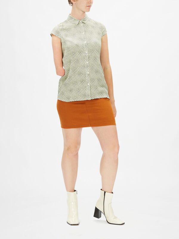 Cap Sleeves Button Down Blouse