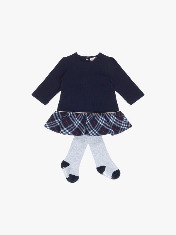 Jersey top and Tartan and Tights