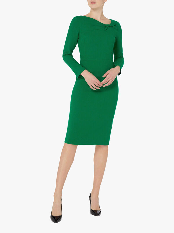 Bow Detail Wool Crepe Pencil Dress