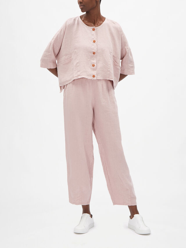 Collarless Box Fit Cropped Linen Jacket