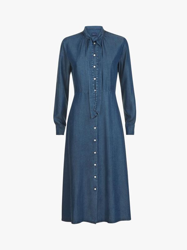Chambray Bow Shirt-dress