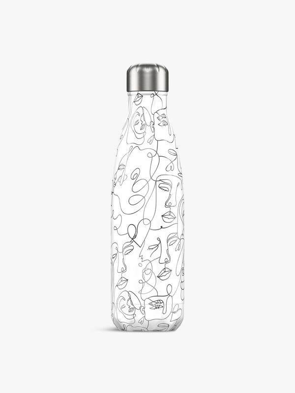 Line Drawing Faces Bottle 500ml