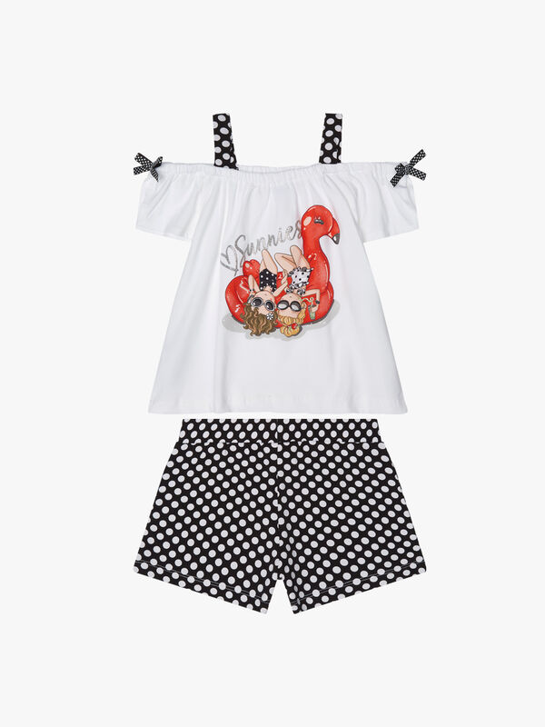 Spotted Shorts & Flamingo Top