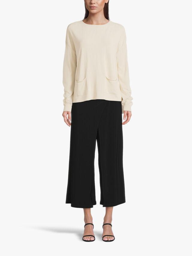 Drop Shoulder Oversized Drawstring Hem Knit with Front Patch Pockets