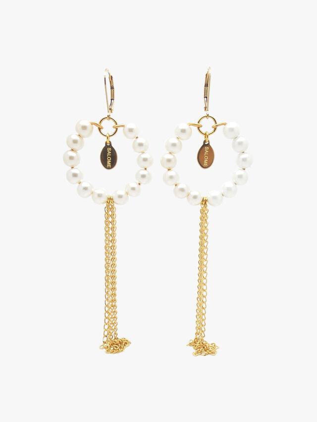 Tribal Pearl Fringe Earrings