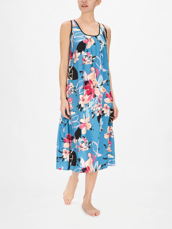 Hannah Turquoise Floral Print Nightdress