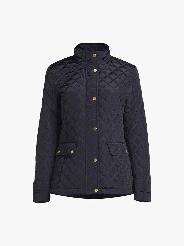 Funnel Neck Short Quilted Coat