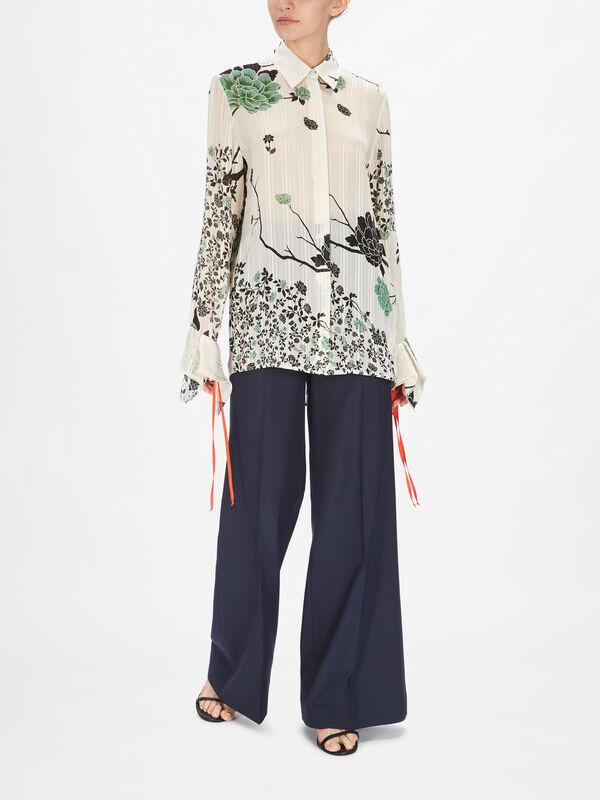 Flounce Cuff Printed Crepon Shirt