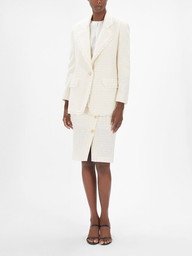 Single Breast Boucle Blazer With Fringe Hem Lapels