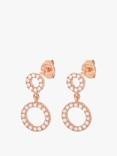 Silver Open Circle Drop Earrings