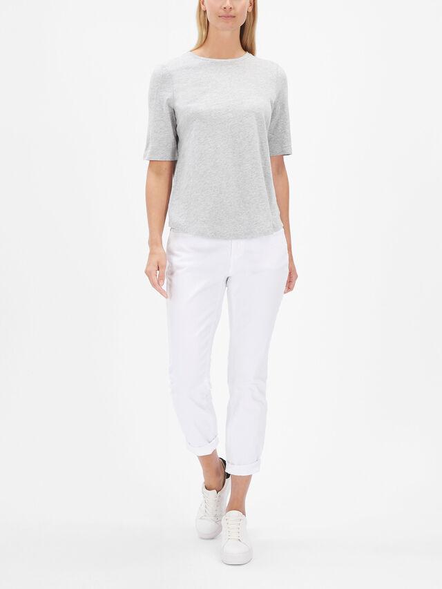 Slubby Organic Cotton Jersey Round Neck Elbow Sleeve Top