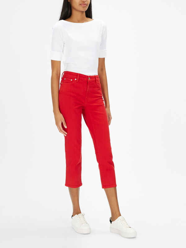 Straight 5 Pocket Cropped Jeans