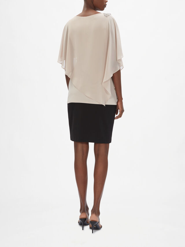 Layer Chiffon Embellished Should Overlay Top