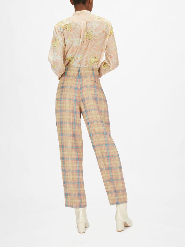Linen Tartan Jacquard Pants