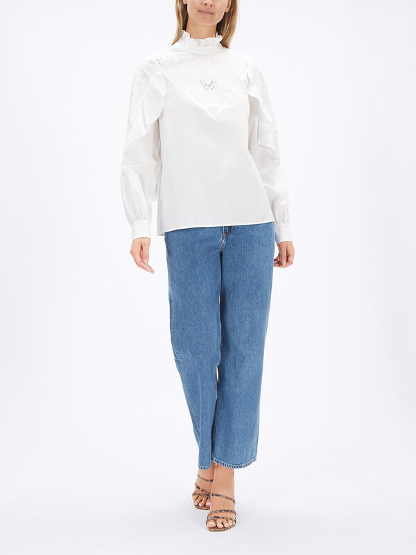Ruffle Sleeve Poplin Shirt