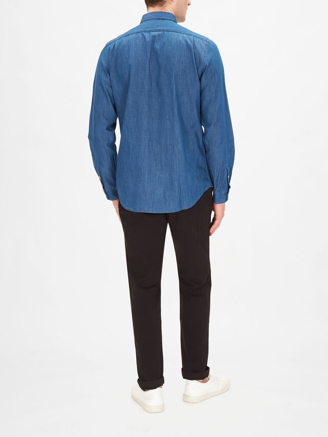 Tailored-Fit Indigo Denim Shirt