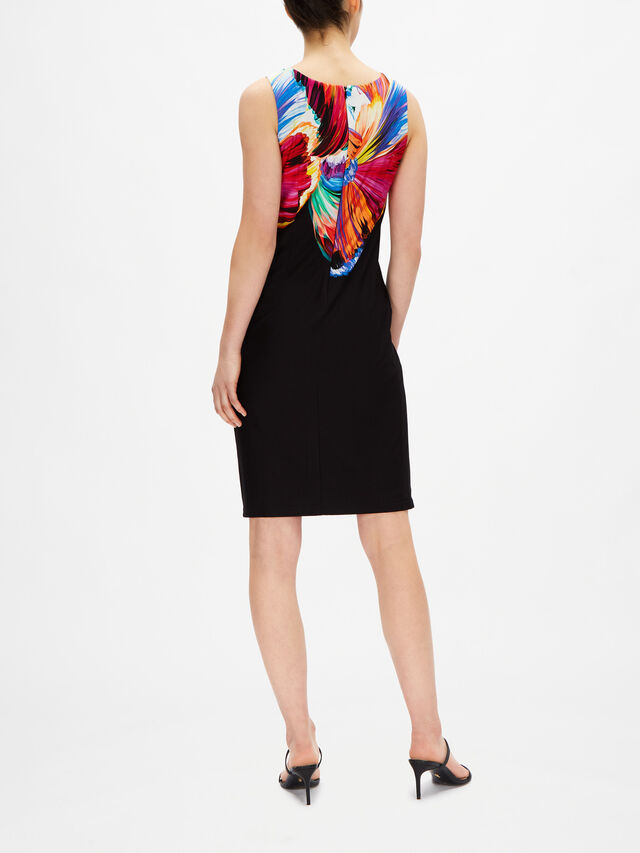 Sleeveless Fitted Dress with Multicolour Print Detail