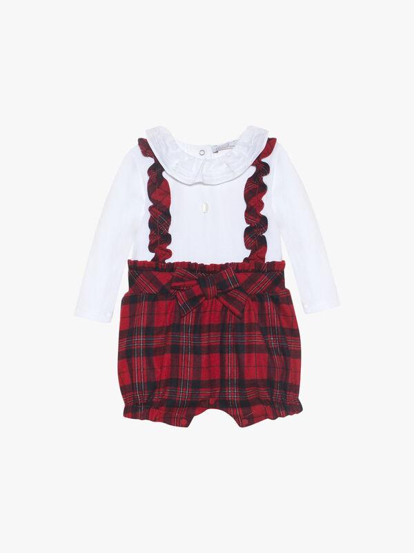 Girls Shirt And Tartan Short Romper