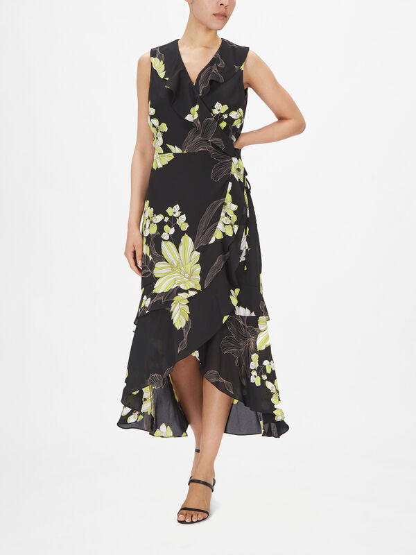 Sleeveless Floral Print Ruffle Detail Wrap Dress
