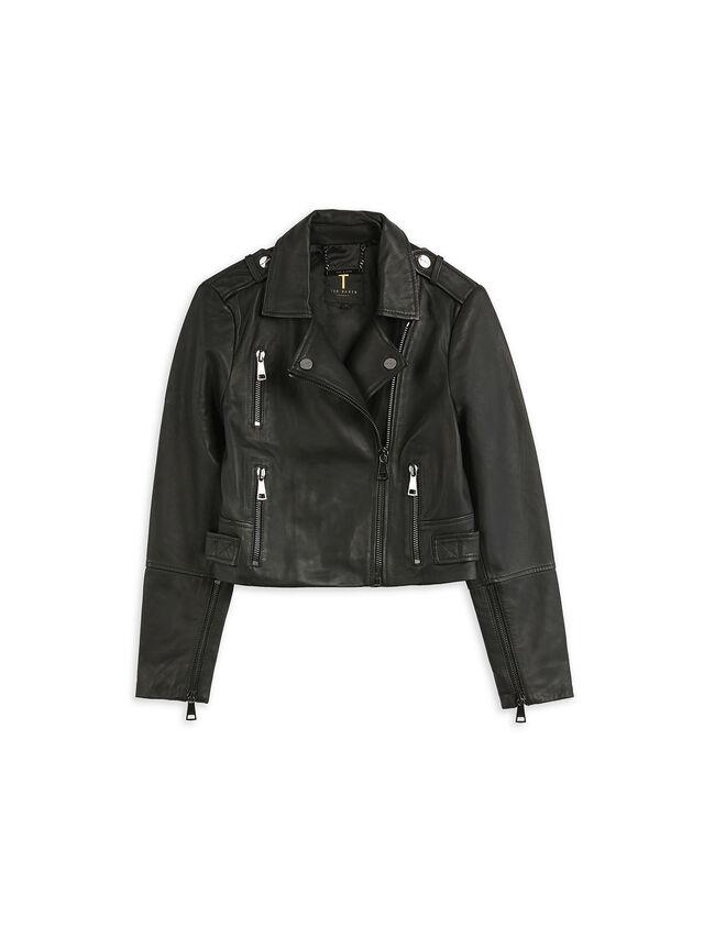 SSALLI Cropped Leather Biker Jacket