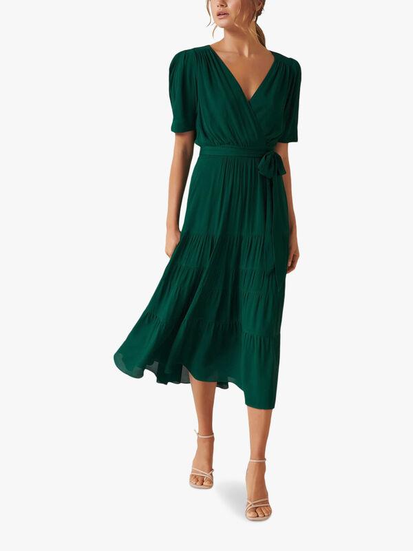 Jordan Puff Sleeve Tiered Midi Dress