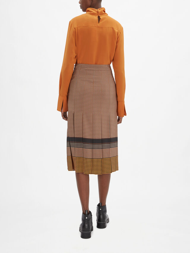 Saria Silk Plaid Skirt