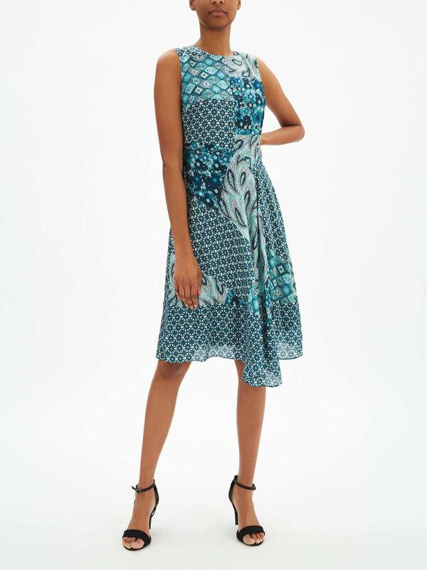 Azure Mixed Print Dress With Asymmetric Hem