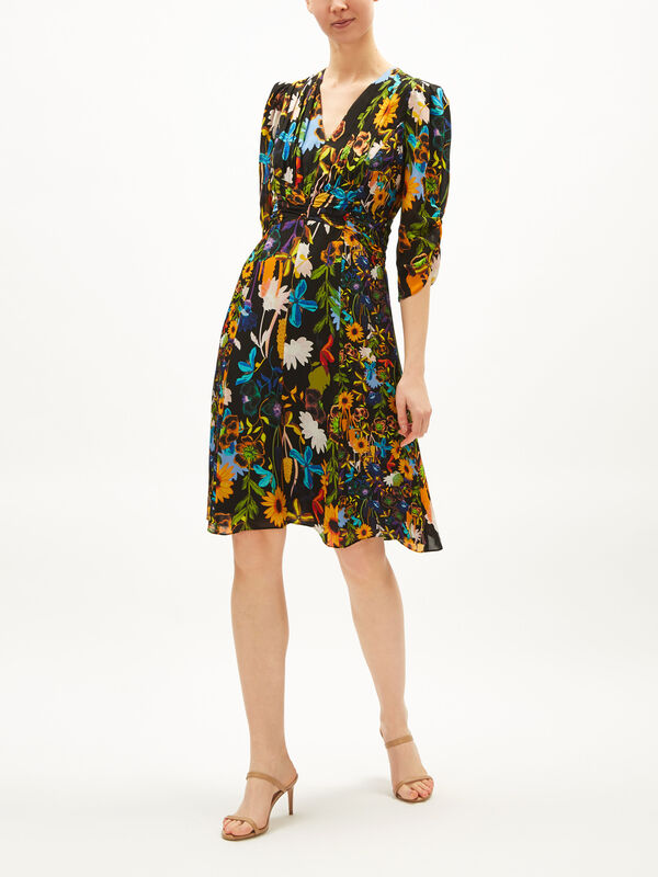 Kailyn Floral Print Long Sleeve Silk Blend Dress