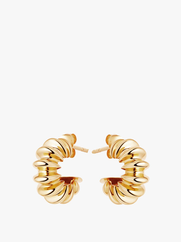 Gold Medium Ridged Claw Hoops