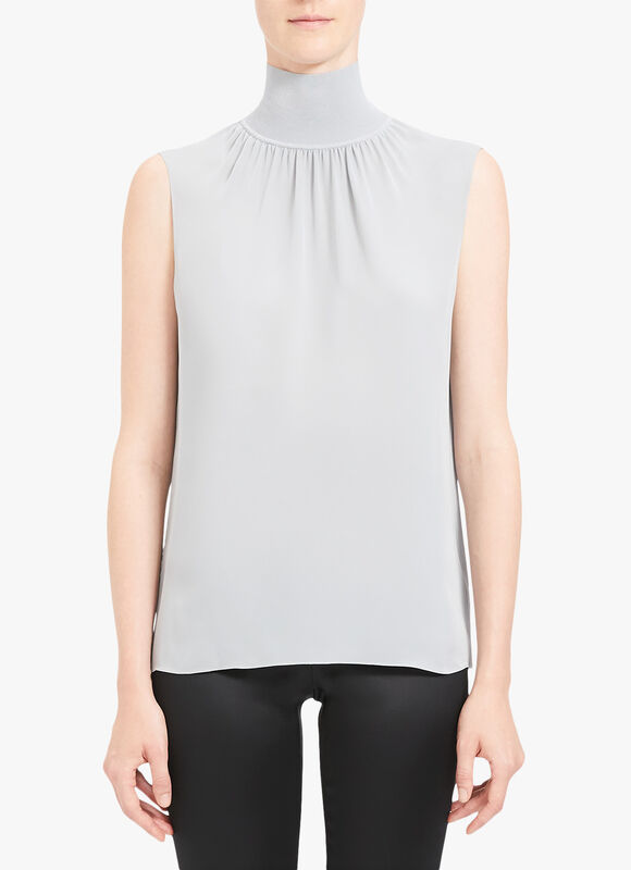 Ribbed Neck Shell Top