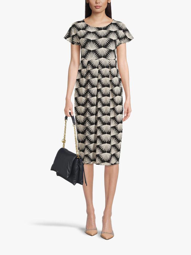 Olnia Fan Leaf Print Jersey Midi Dress