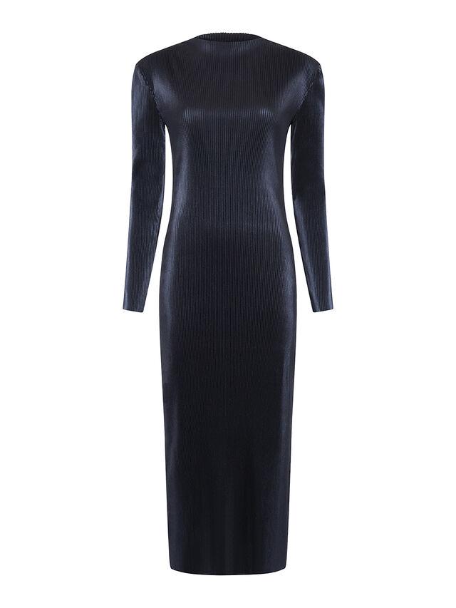 Taina Metallic Pleated High Neck Dress