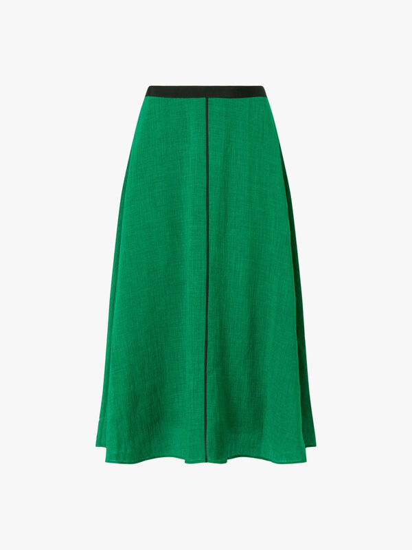 Midi A Line Skirt With Contrast Piping
