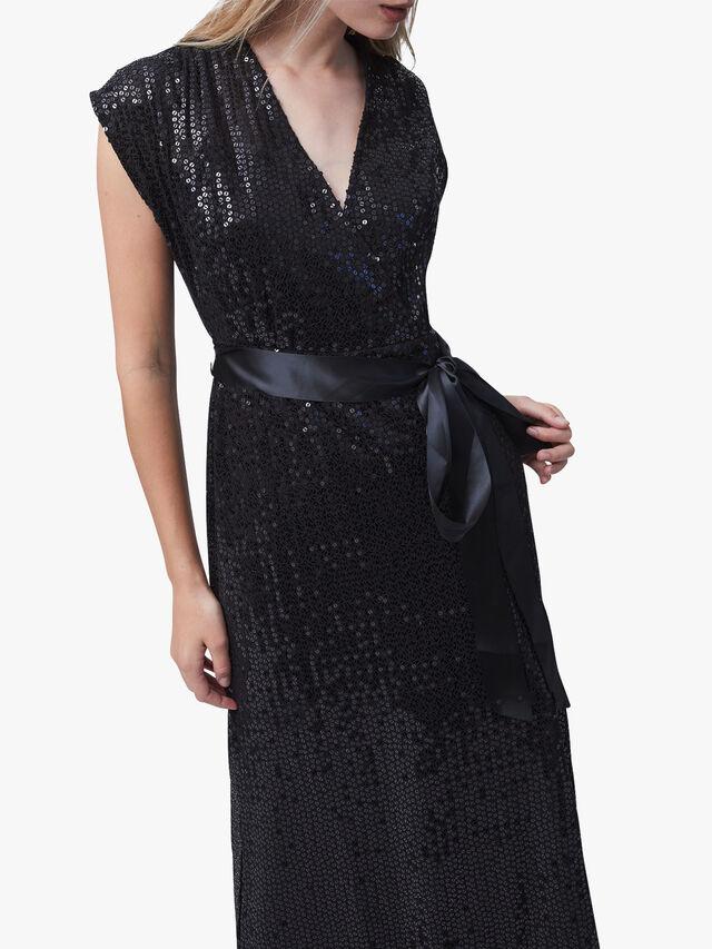 Arailla Embellished V-Neck Sequin Dress