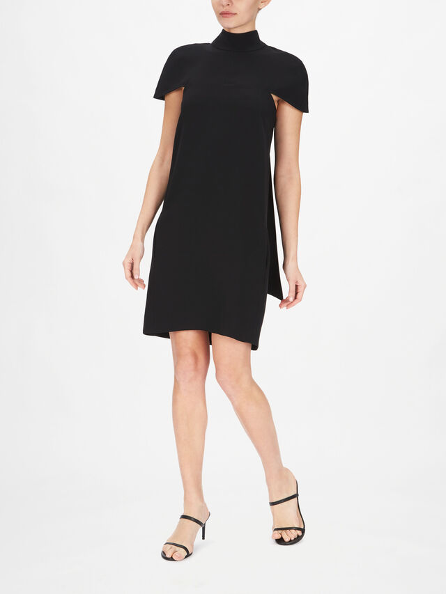 Cape Detail Soft Crepe Dress