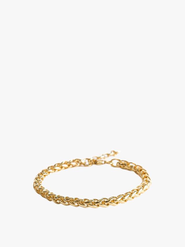 Gold Plated Silver Barrel Chain Bracelet
