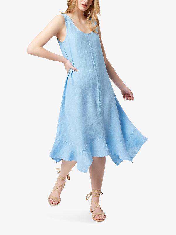 Frill Trim Linen Dress