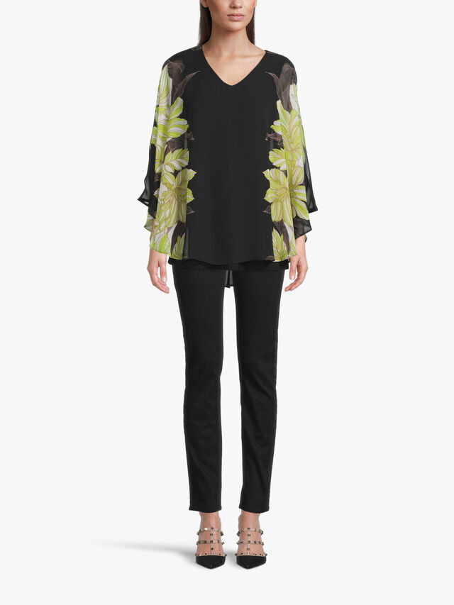 Chiffon Blouse with Floral Print Batwing Sleeve