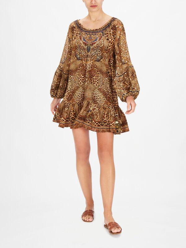 Lady Lodge Blouson Sleeve A Line Frill Dress