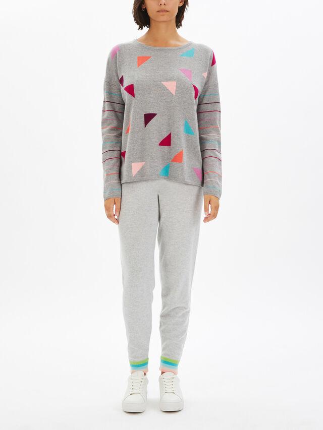 Triangle Print Stripe Sleeve Knit