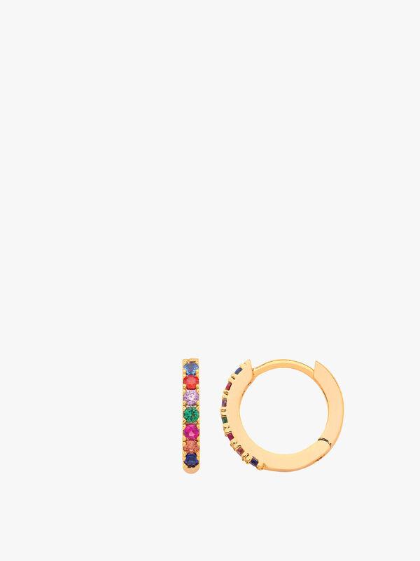 Multicoloured Pave Hoop Earrings