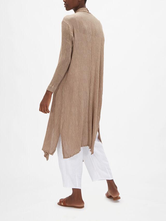 Silk Blend Plisse Waterfall Jacket