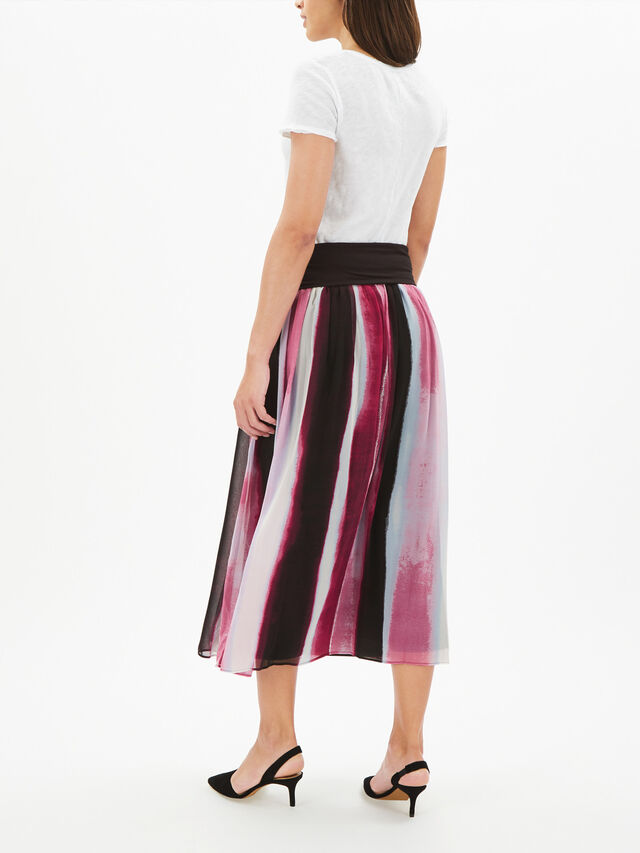 Pull On Midi Skirt with Knit Waistband