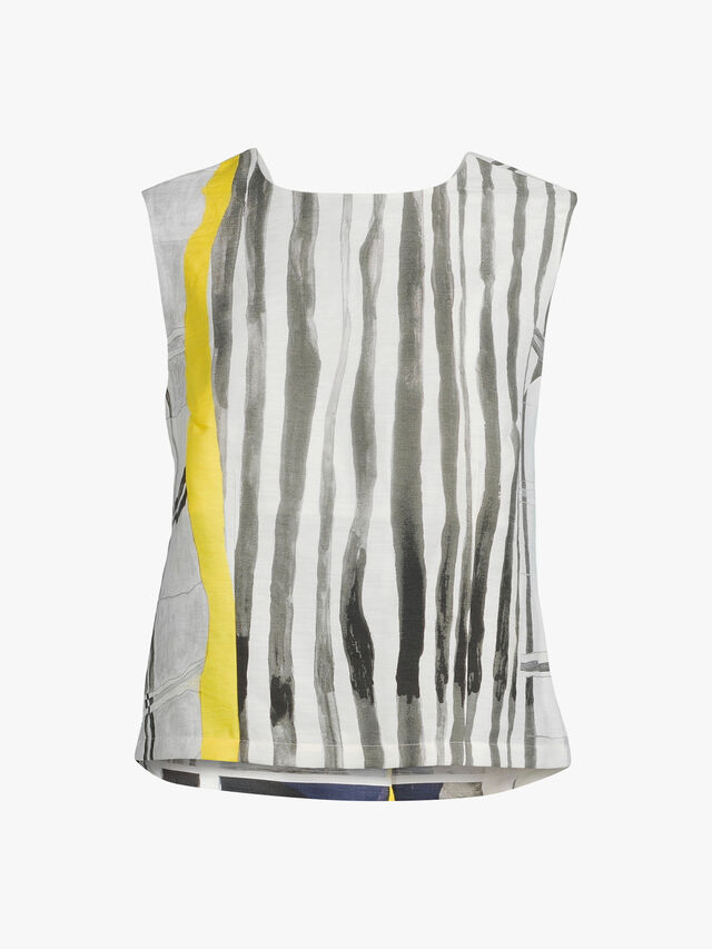 Sleeveless Abstract Print Low Back Viscose Blouse
