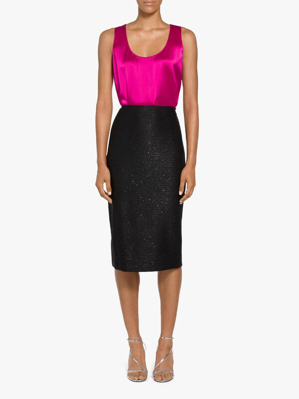 Glimmering Sequined Knit Pencil Skirt