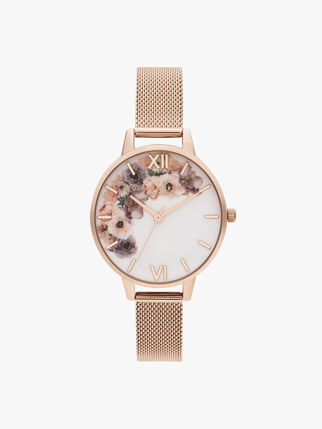 Watercolour Floral Mesh Watch